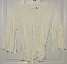 Moth Anthropologie Sweater Cardigan Tie Front Ribbed Ivory Size S Ladies Womens