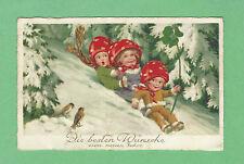 FANTASY pc GIRLS in MUSHROOM HATS sliding down SNOW HILL, BIRDS  Art. FLATSCHER