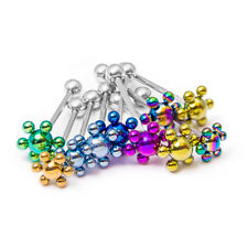 10 Tongue Piercing Barbells - Anodized Titanium Flowers - 14ga 316L Steel