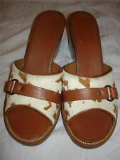 New $130 H.S. Trask & Co PONY HAIR Brown Sandals Slides Heels Shoes 8.5  8 1/2
