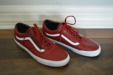 Vans Old Skool Chili Pepper Red Leather True White Zip Mens Shoes Trainers 10.5