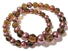 FAUX PEARL AND BROWN GLASS STRETCH BRACELET BEADS SET OF TWO MATCHING
