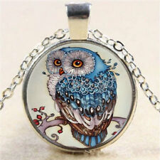 Silver Chain Owl Photo Cabochon Beautiful Glass Tibet Pendant Necklace CHI