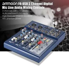 ammoon F4-USB 3 Channel Digtal Mic Line Audio Mixer 48V Phantom Power New D9L5