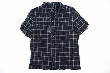 TODD SNYDER CHECK BLACK LARGE SHORT SLEEVE LINEN BUTTON DOWN SHIRT MENS NWT NEW