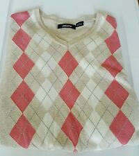 Womens Multi color Argyle V-Neck Sweater Liz Claiborne SIze L 100% Cotton
