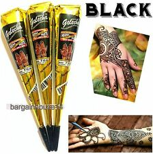 3  X SUPER FAST BLACK COLOR HENNA  MEHNDI TATTOO CONES  - IMPORTED TOP QUALITY