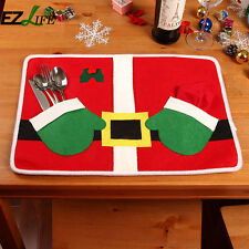 Christmas Santa Suit Placemat Table Mats Cutlery Holder Xmas Table Funny Set