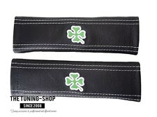 2x NEW SEAT BELT COVERS PADS SHOULDER LEATHER EMBROIDERY CLOVER FOR ALFA ROMEO