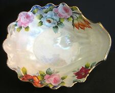 Vintage JAPAN Lusterware 3 Sea Shell Footed Gold Trim with Flowers Large Bowl