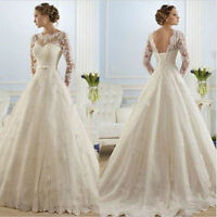White/Ivory bridal dress Appique Lace back Wedding dress Bridal Gown custom size