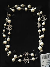 CHANEL 2016 WHITE PEARL ICONIC 5 CC CRYSTAL DRESS NECKLACE NWT In Box  42 ""