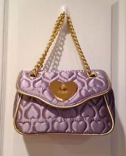 Betseyville Silver Satin Quilted Heart Purse With Gold Chain Handles - Nice!!