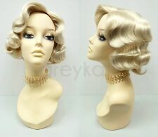 Blonde Finger Waves Wig Short 1920s Gatsby Retro Costume Vintage Flapper