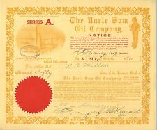 The Uncle Sam Oil Company 1918 Arizona series A old stock certificate share