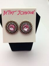 $30 Betsey Johnson Crystal Gem Button Earring
