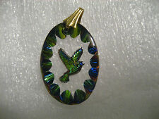 Peace Dove  Reverse carved and painted  Vintage glass intaglio charm pendant