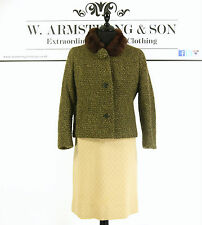 Women's vintage 50s style laine tweed vert marron fourrure de lapin col veste uk 14