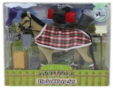 Flocked Toy Horse Model Set With Riding Accessories ~ Beige