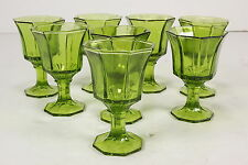 8 Independence Crystal Octagon Footed Green 4 Oz Juice Goblets Panelled Tumblers