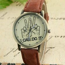 Women and Men Watch I Can Do It Victory Sign Leather Strap Quartz Wrist Watch