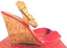 TORY BURCH Ashton Leather Sandal Cork Wedge Patent Red/Royal Tan Sz 8,5 Was425