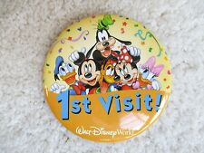 Disney World Mickey Mickey Minnie Ist Visit Button Pin Donald Daisey Pluto NEW