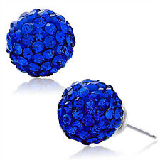 Royal Blue Earrings Czech Crystal Rhinestones Ear Stud Clay Ball 925Silver 10mm