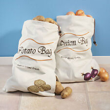 Sprout Free 2 Vegetable Bags Canvas Reusable Potatoe Onion Garlic Zippered 2-1