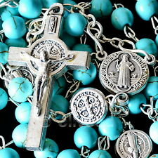 Turquoise Howlite Healing Stone Bead St. Benedict Catholic Rosary Cross Necklace