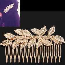 Bridal Wedding Crystal Rhinestones Diamante Gold Leaf Vintage Hair Comb Clip