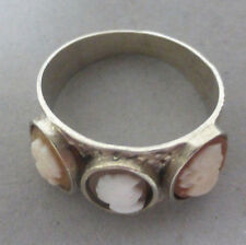 Klassisch schöner Ring mit 3 Kameen, Silber 800, Grösse 53, Ø 17mm