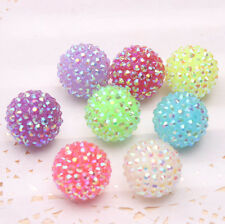 100Pcs 22mm Mixed Neon AB Resin Rhinestone Chunky Beads Charm Bracelet Necklace