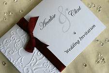 Sample Heart Embossed Wedding Invitation - (H2) Handmade