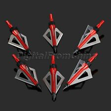 6Pcs Red 100 Grain Archery Broadheads Metal Point Tips Screw Hunting Arrow Heads