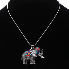 Tibetan Silver Crystal Elephant Pendant Necklace Xmas birthday Gift jewelry