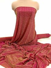 METALLIC STRETCH SEMI SHEER AMERICAN KNIT FUCHSIA/GOLD ..DOLL CLOTHING, COSTUME