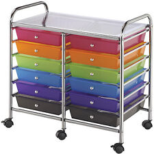 Blue Hills Studio Multicolor 12-drawer Double-wide Storage Cart