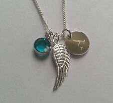 Sterling Silver Personalised Angel Wing Pendant Necklace