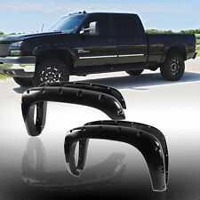 4pc Pocket Rivet Bolt-On Smooth Blk Fender Flares For Chevy/GMC Multiple Models