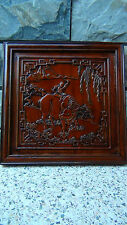 ANTIQUE EARLY 20C CHINESE CAMPHORE WOOD HAND CARVED OF A BOY ON A OX WALL PLAQUE