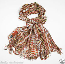 MISSONI Wool Shimmer ZigZag Scarf in Brown SC32WMD3335 0002