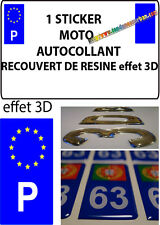 1 sticker plaque immatriculation MOTO DOMING 3D RESINE PORTUGAL P