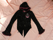 Black pink hoodie hooded top zip up tail jacket punk goth emo cross print lace