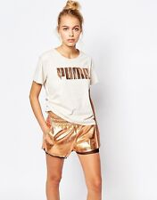 Puma Ladies Oversized Boyfriend T-Shirt Top With Rose Gold Logo Size L White