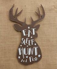 Country new rustic large BUCK wall plaque / EAT, SLEEP, HUNT and FISH / nice