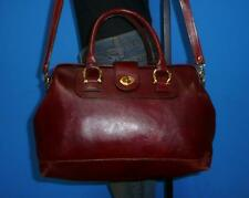 Vintage Brown Leather Medium Doctor Frame Satchel Tote Purse Convertible Bag