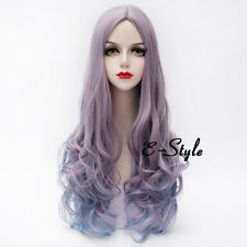 75CM Light Purple Mixed Blue Fashion Women Long Curly Lolita Cosplay Party Wig