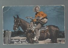 MONTE HALE WITH GUITAR COWBOY MOVIE STAR HORSE EARLY ARCADE CARD AB