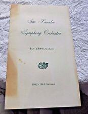 VINTAGE BOOKLET SAN LEANDRO SYMPHONY ORCHESTRA 1962 SAN LEANDRO CAL MEMBER LIST